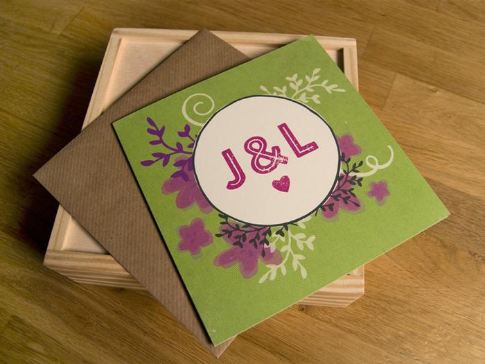 J&L green purple custom wedding invitation