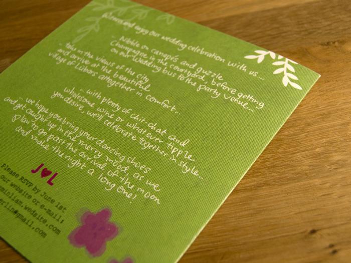 J&L custom wedding invitation