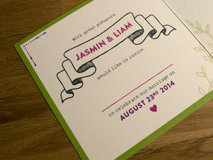 J&L individuelle hochzeits einladungen