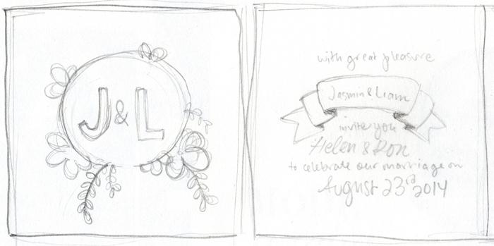 J&L custom wedding invitation sketch